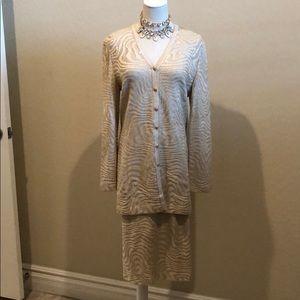 St John Marie Gray Evening Sequin Knit Skirt